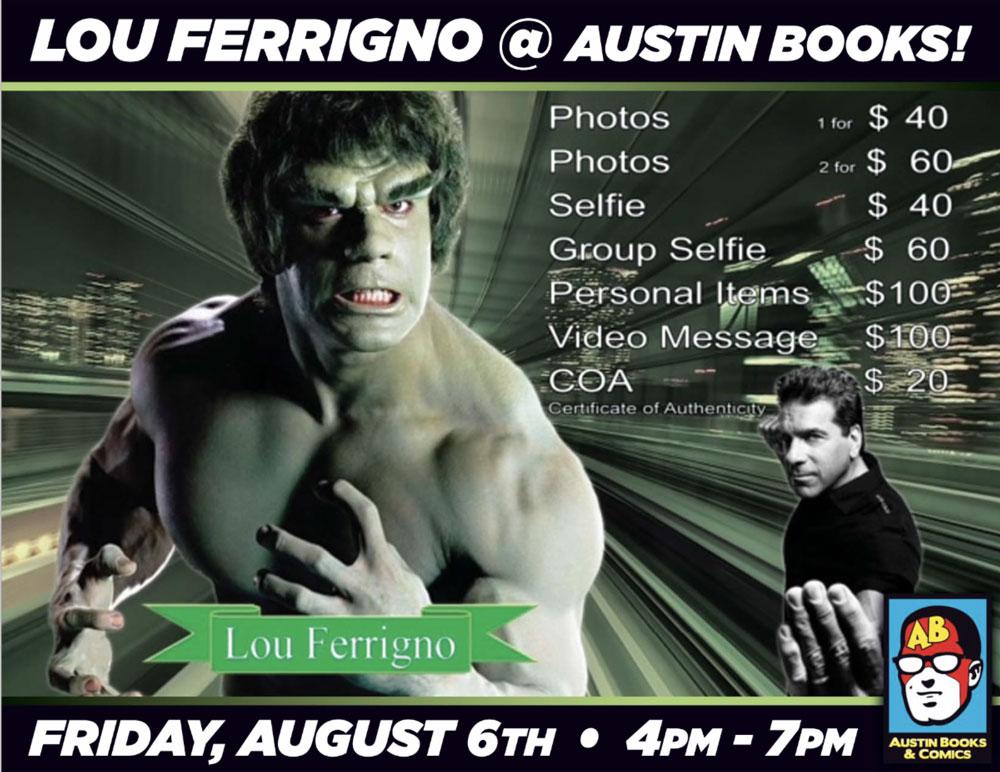 Lou Ferrigno at Austin Books & Comics